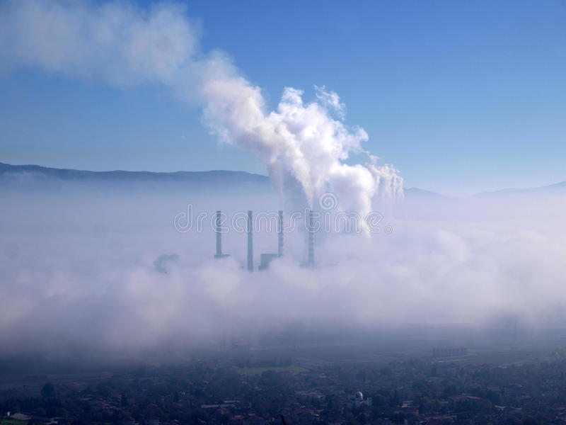 Smoking Chimneys Of Power Station Stock Images