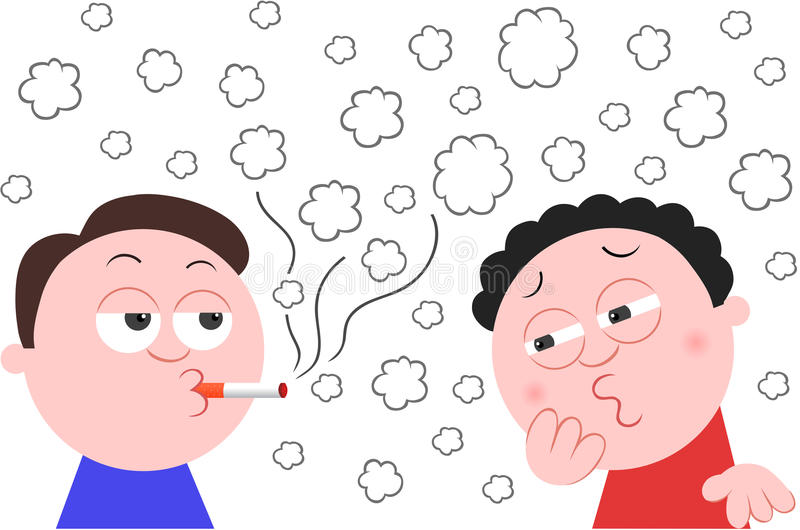 Smoking Cigarette and Another Man Coughing stock illustration