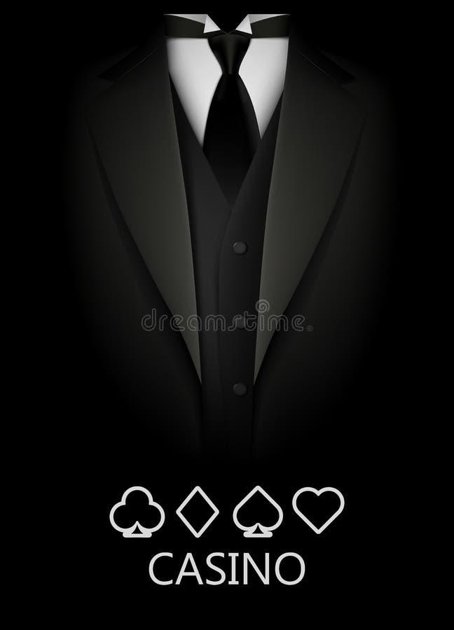 Smoking con el traje del fondo de las tarjetas Concepto del CASINO Club del póker de la élite ilustración del vector