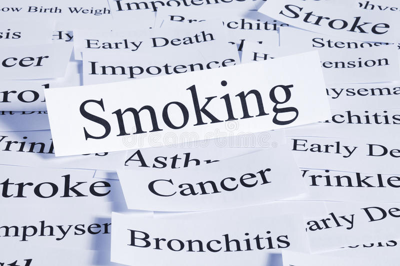Smoking Concept. A conceptual look at the hazards of smoking, cancer, stroke, bronchitis, impotence, early death royalty free stock photography