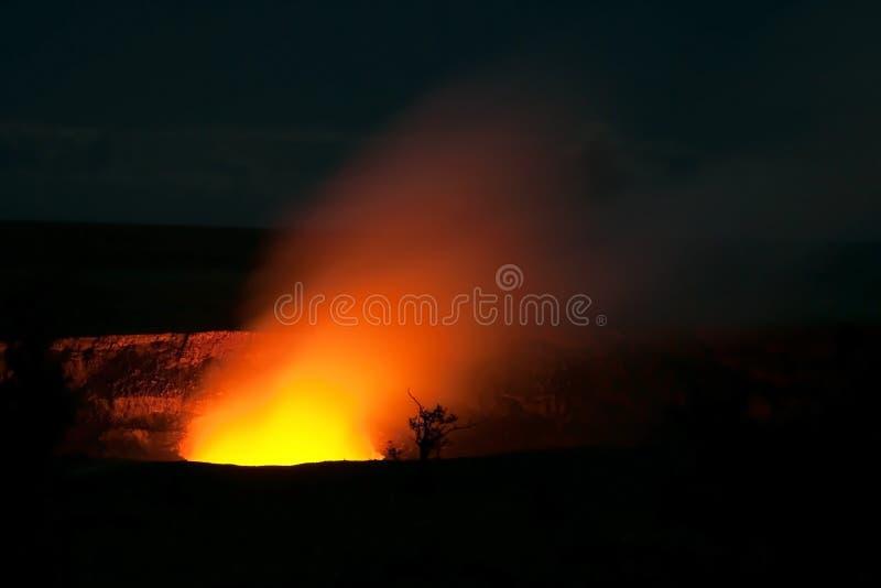 Smoking Crater of Halemaumau Kilauea Volcano. In Hawaii Volcanoes National Park on Big Island at night royalty free stock image