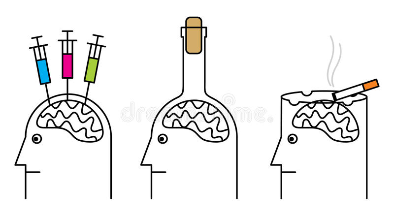 Smoking, drug addiction, alcoholism. Habits harmful to health. Smoking, drug addiction, alcoholism royalty free illustration