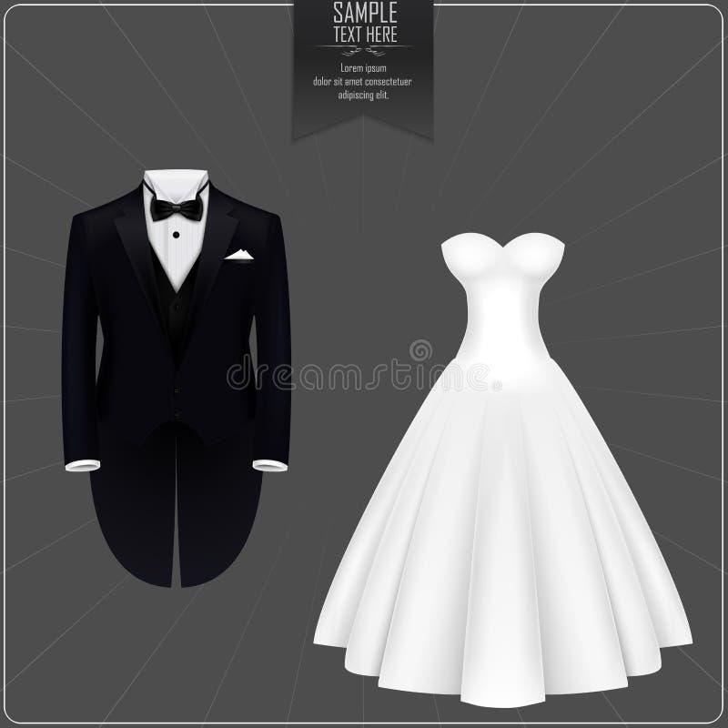 Smoking et robe de mariée illustration libre de droits