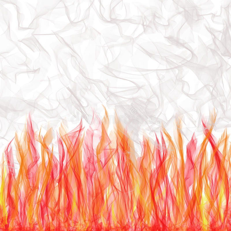 Smoking Flaming Veils. Background of veils in flames with rising,swirling smoke vector illustration
