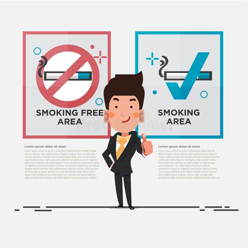 Smoking free area and smoking area sign with smart businessman showing thumbs up. character design - illustration vector illustration