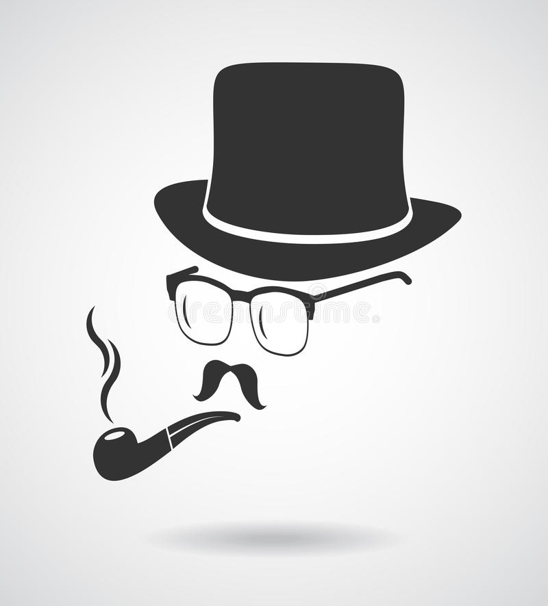 Smoking gentleman. Vintage design elements set like icon royalty free illustration