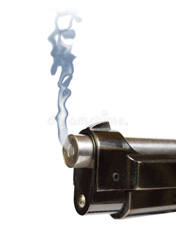 Smoking gun. Close-up, isolated on white background stock images