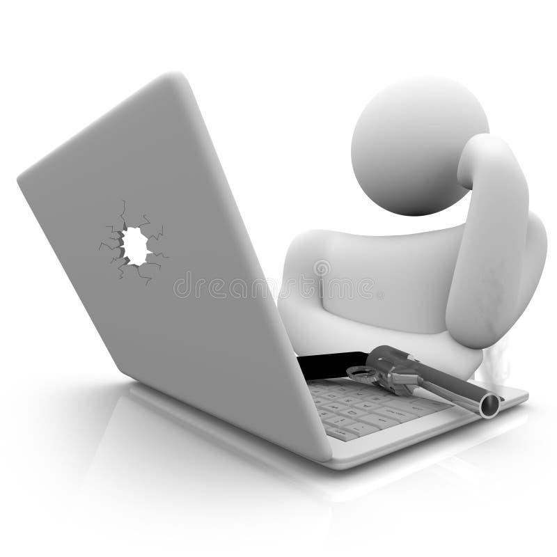 Smoking Gun and Laptop. A smoking handgun rests on a laptop computer keyboard stock illustration
