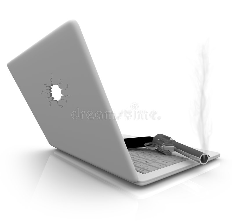 Smoking Gun and Laptop. A smoking handgun rests on a laptop computer keyboard vector illustration