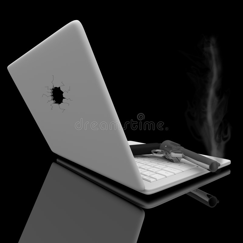 Smoking Gun and Laptop. A smoking handgun sits on a laptop keyboard after a hole is shot in the screen vector illustration