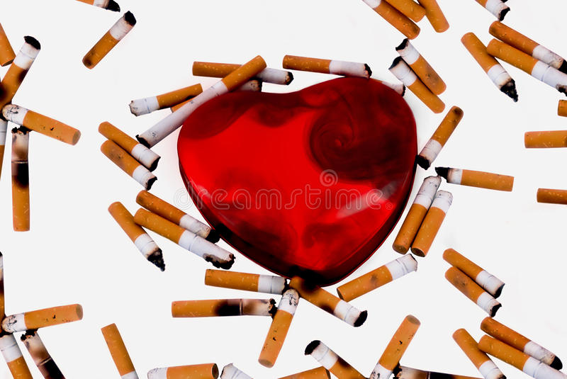 Smoking heart stock photo