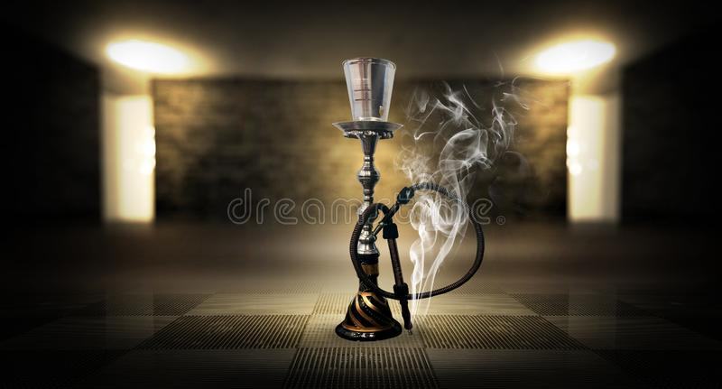 Smoking a hookah against a brick wall, concrete floor, neon light, smoke. Hookah in a dark room, spotlights, smoke, dust, smog stock image