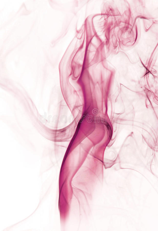 Smoking image of beautiful lady made of fume. Over white background royalty free stock photo