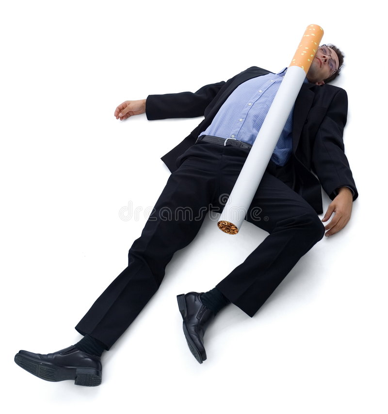 Smoking kills. Smoking (cigarette) kills: a guy laying on the ground, he was hit by a big cigarette. Funny illustration of'smoking kills royalty free stock photography