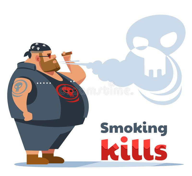 Free Smoking Kills Poster. Fat Biker Smokes. Health Care, Stop Smoking Concept. Vector Cartoon Illustration Stock Photos - 159616433