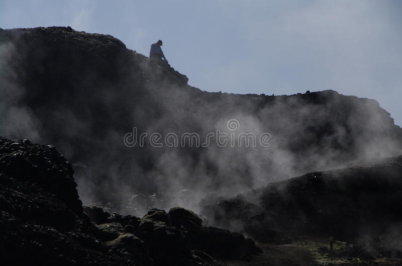 Smoking lava of the Leirhnjukur Volcano stock images