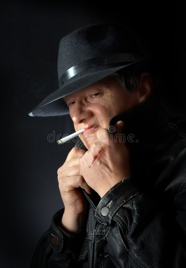 Download Smoking mafia guy stock photo. Image of crime, scar, horror - 2276170