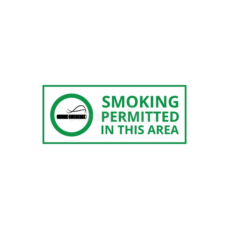 Smoking permitted area banner for signboard or label vector illustration isolated. Smoking permitted area banner for signboard or label of smokers zone the stock illustration