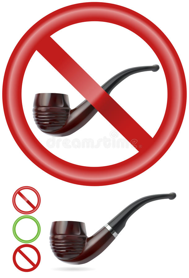 Smoking pipe with signs   Vector royalty free stock photos