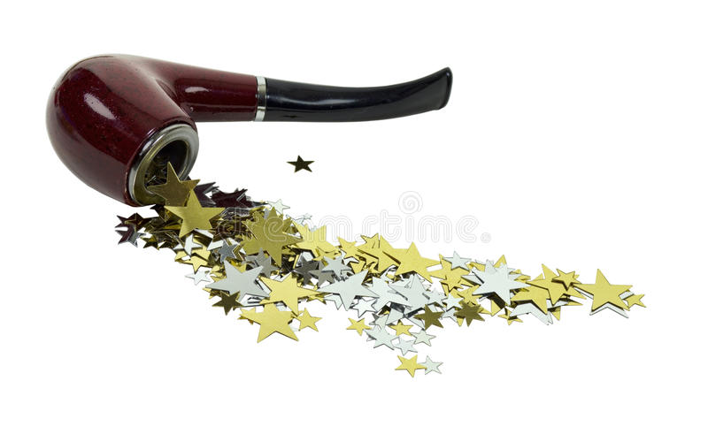 Smoking Pipe Spilling Stars stock photography