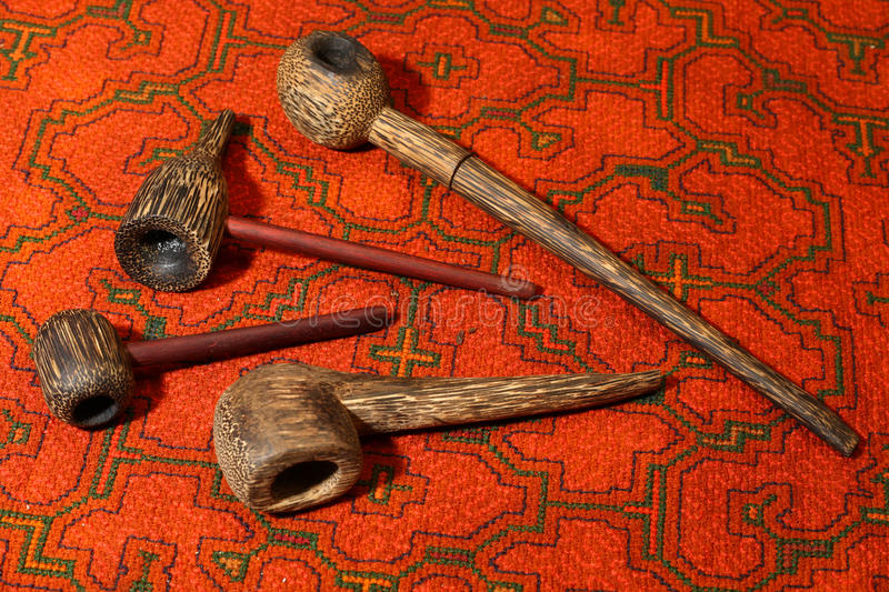 Smoking pipes from South America royalty free stock photo
