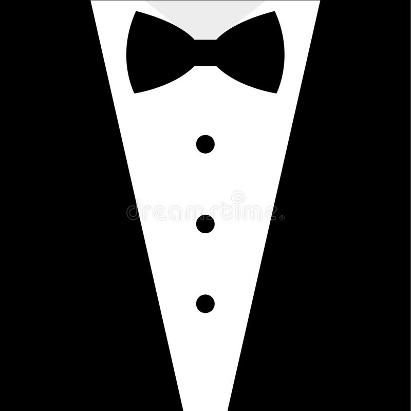 Smoking preto e branco do laço ilustração do vetor