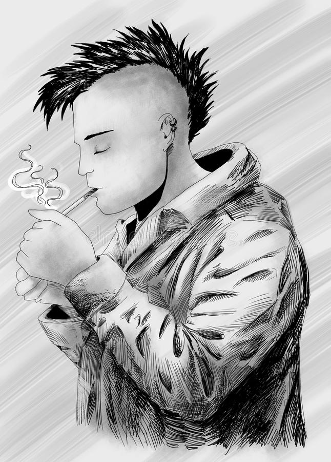 Smoking Punk Sketch Stock Photos