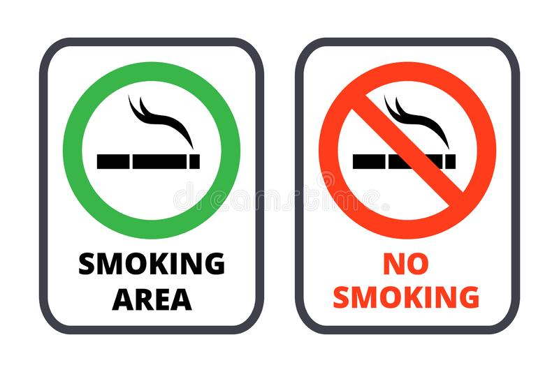 Smoking restrictions signs templates set. Smoking area signboard with green circle poster design. Crossed cigarette silhouette in red round frame. Nicotine vector illustration