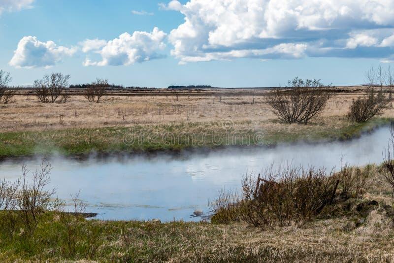 Smoking River at Deildartunguhver in Iceland stock photo
