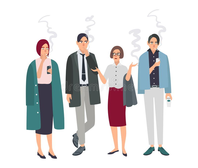 Smoking room. Different office people on smoke break. Man and woman with cigarettes. Vector illustration in flat style. royalty free illustration