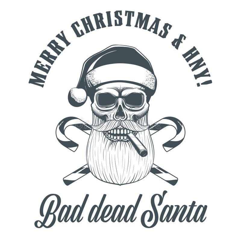 Smoking Santa Claus skull stock illustration