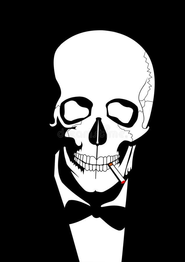 Smoking skull vector illustration