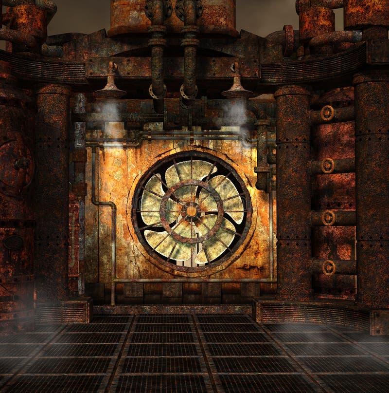 Smoking turbine in a steampunk laboratory. Steampunk dark background with a smoking turbine – 3D illustration vector illustration