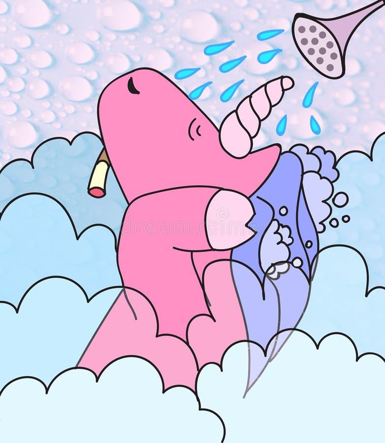 Morning, unicorn and shower stock image