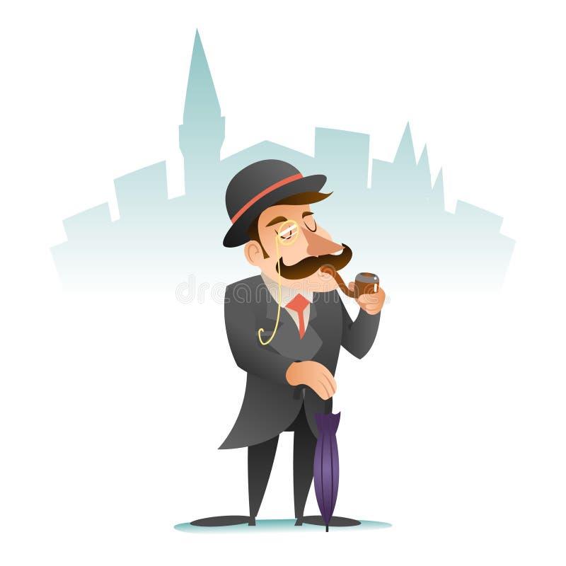 Smoking Victorian Gentleman Umbrella Cartoon Character Icon on Stylish English City Background Retro Vintage Great stock illustration