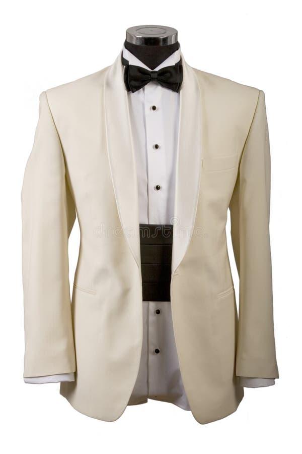 Smoking, weißes Hemd und schwarzer Querbinder stockfoto