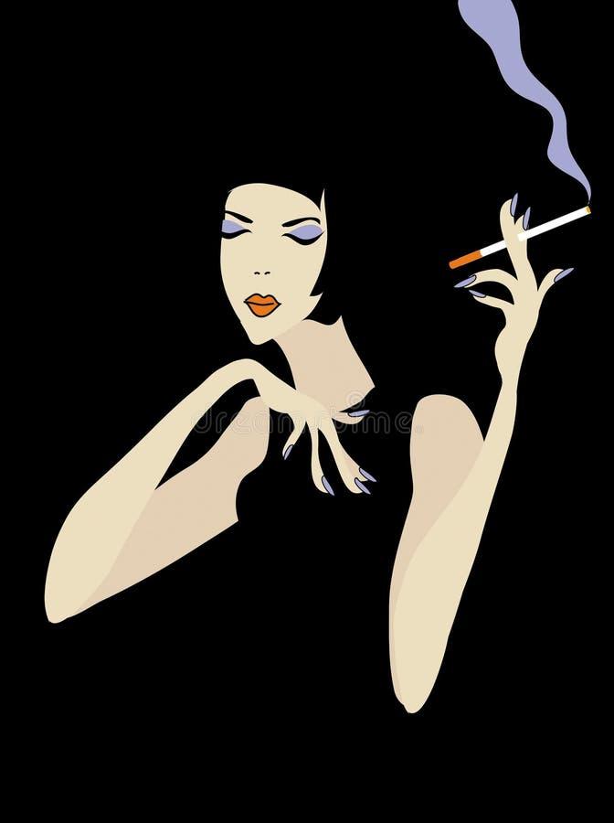 Smoking woman vector illustration