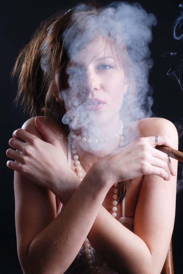Smoking Woman Royalty Free Stock Photo