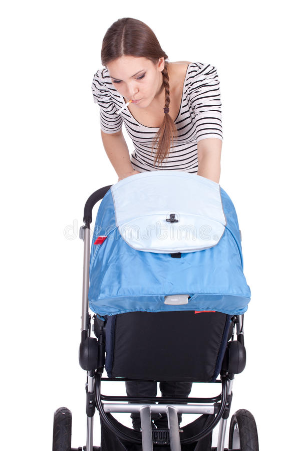 Download Smoking Young Mother With Baby Buggy Stock Photo - Image: 20407906