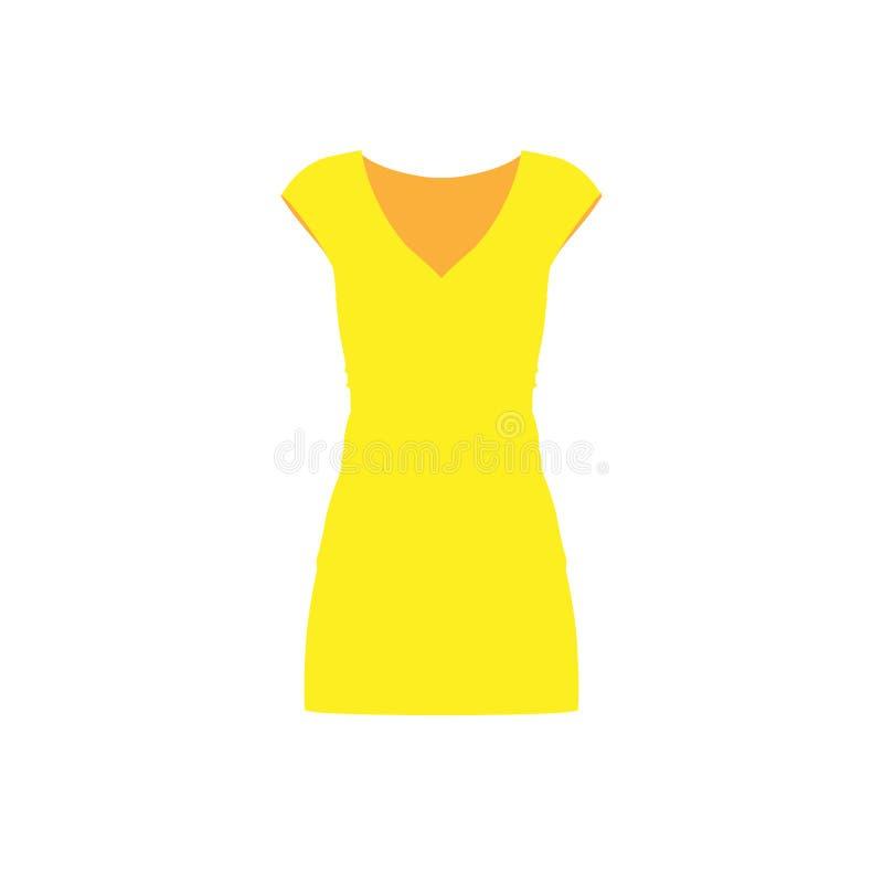 Smokingowa żółtej kobiety mody osoby elegancji modela wektoru ikona Modny przypadkowy elegancki damy ciała znak royalty ilustracja