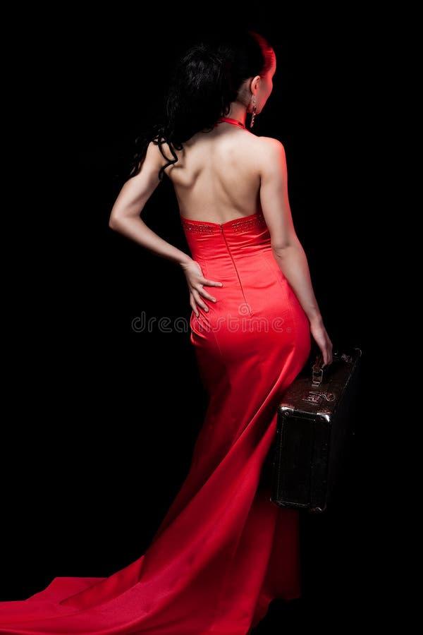 smokingowa czerwona kobieta zdjęcie royalty free