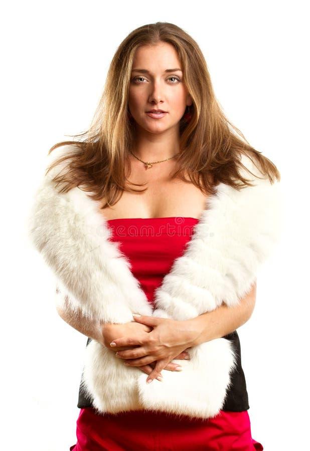 smokingowa futerek czerwieni kobieta fotografia royalty free