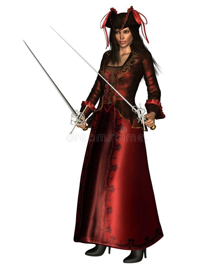 smokingowej damy długa pirata czerwień ilustracja wektor