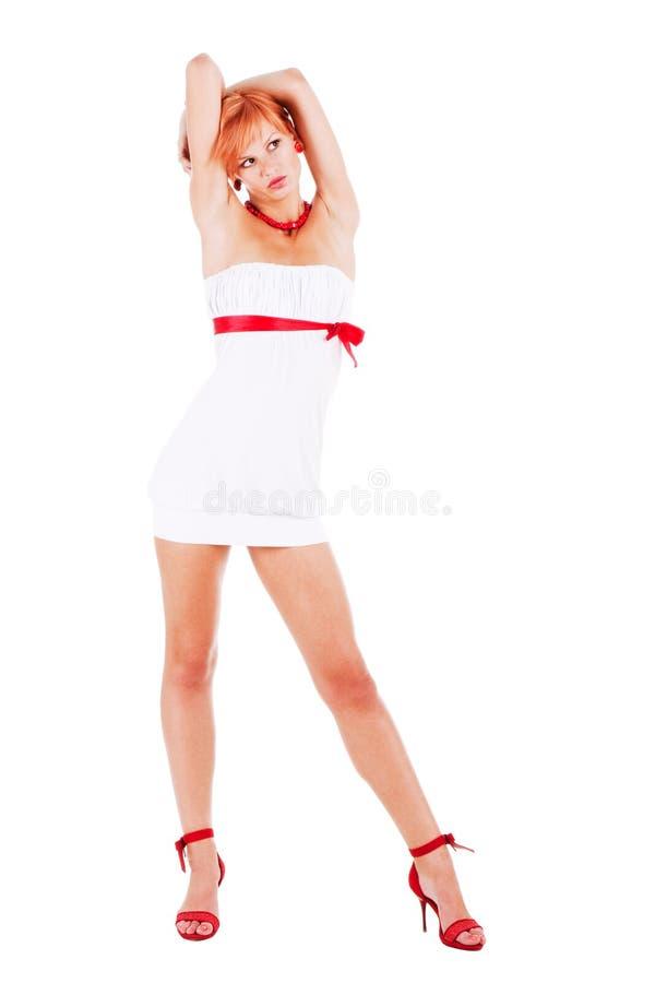 smokingowej dziewczyny słodki biel fotografia stock