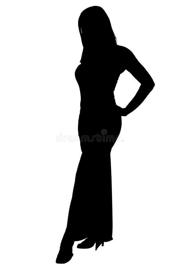 smokingowej przycinanie formalnej ścieżki sylwetki kobiety royalty ilustracja