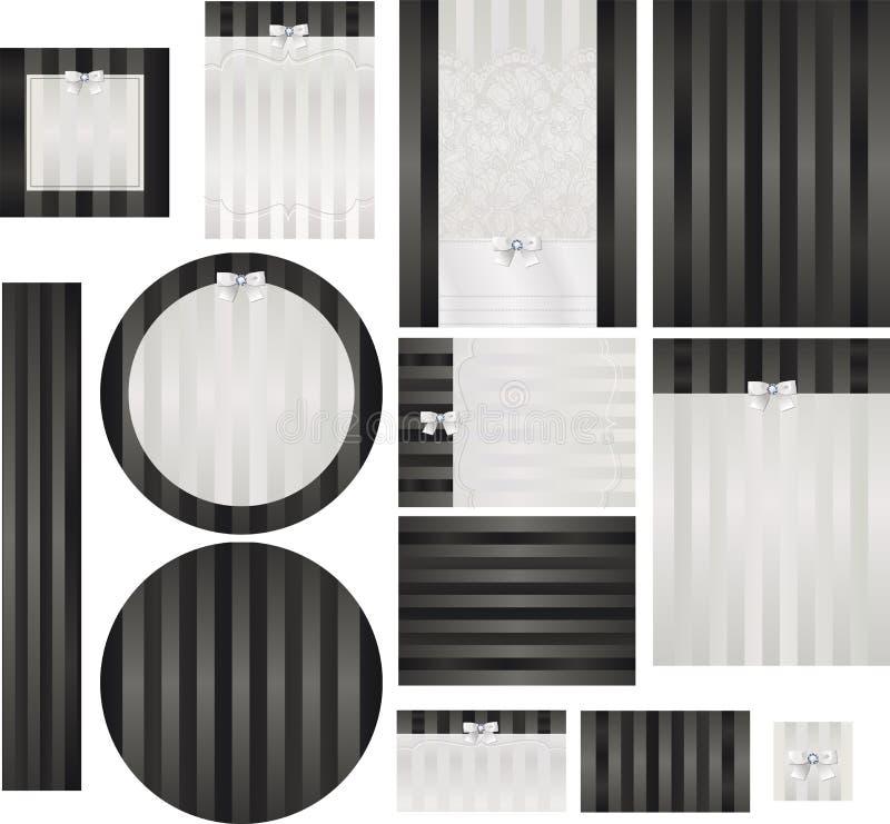 Smokingsatijn en de geborduurde reeks van de kantuitnodiging vector illustratie