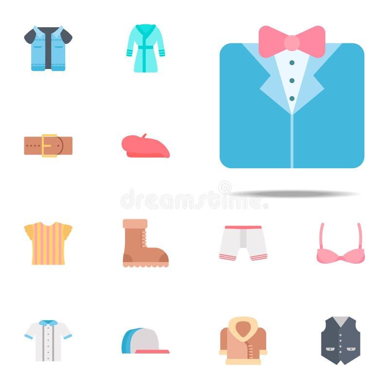 Smokingu koloru ikona Odzieżowy ikony ogólnoludzki ustawiający dla sieci i wiszącej ozdoby ilustracji