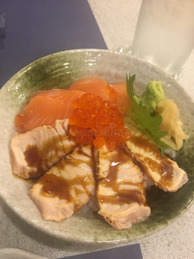 Smoksalmon риса стоковая фотография rf