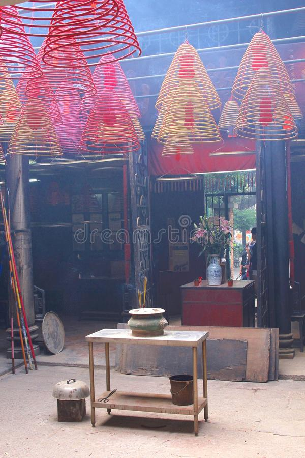 Smoky Buddhist Tin Hau temple, Hong Kong royalty free stock photo