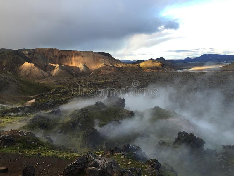 Smoky color mountains in landmannalaugar, iceland stock photo